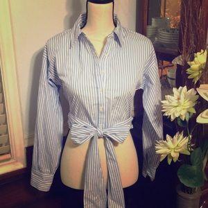Long sleeves stripes crop top, EUC